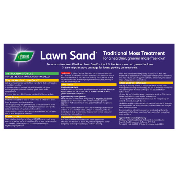 Westland Lawn Sand Product Label