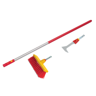 Wolf Garten multi-change Yard Broom, Garden Scraper & Large Aluminium Handle Set