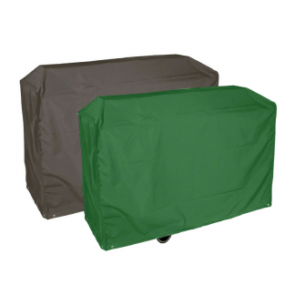 Demonstrating the green or black side of the Bosmere Protector 2000 Wagon Barbecue Cover (Reversible)