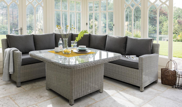 Palma Grande Corner Set in Rattan with Armchair & Bench Conservatory