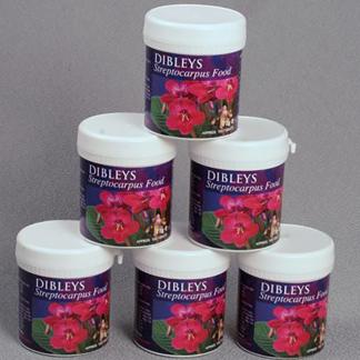 Display of Dibleys Streptocarpus Plant Food (100 Tablets in each tub)