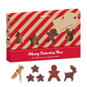 Rosewood Christmas Meaty Selection Box For Dogs Plus Contents