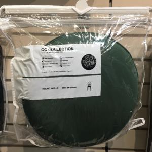 Bistro Round Cushion Pad in Green x 2