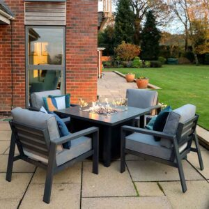 Supremo Melbury 4 Seat Square Firepit Lounge Set with lit firepit