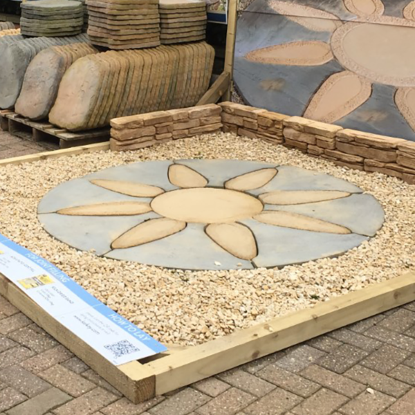 Example of Kelkay Borderstone Patio Feature Kit - Abbey Petal Circle (1.8m)