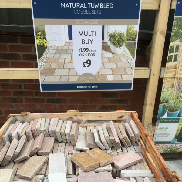 Display of Borderstone Natural Tumbled Cobble Set 20cm x 10cm