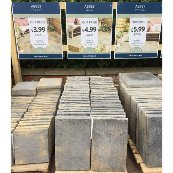 Abbey Paving in Antique at Gates Garden Centre