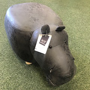 Hippo faux leather footstool