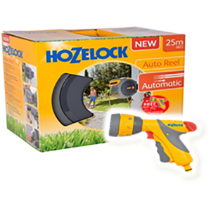 Hozelock Auto Reel with hose (25m) + FREE Multi Spray Plus & 6 settings