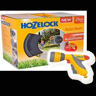Hozelock Auto Reel with hose (25m) + FREE Multi Spray Plus & 6 settings