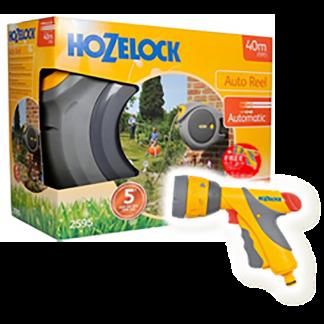 Hozelock Auto Reel with hose (40m) & Free Multi Spray Plus (6 settings)