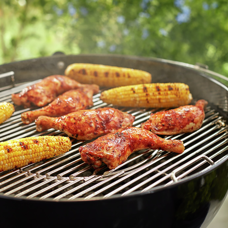 The Weber Barbecue Gourmet BBQ System (GBS) 57cm Hinged Cooking Grate makes cooking easy