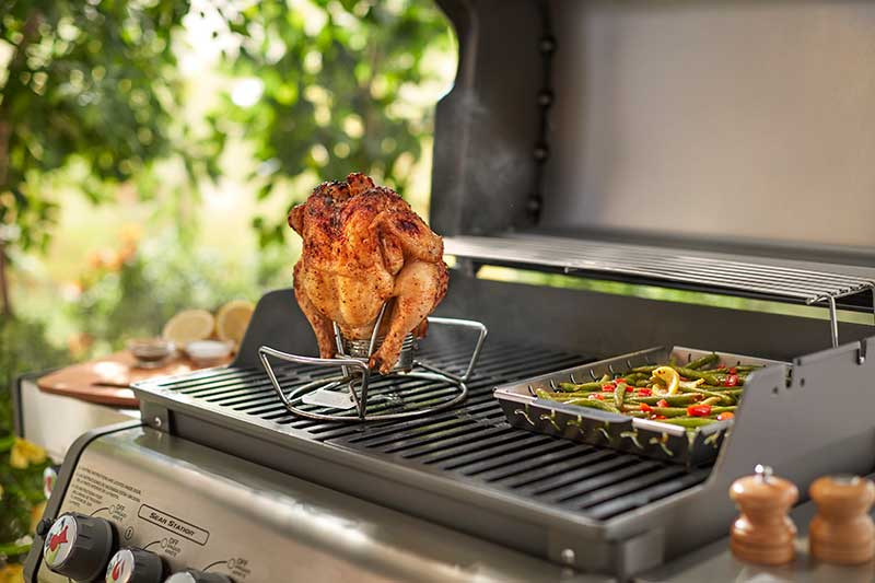 Weber Poultry Roaster in use on a Gas BBQ