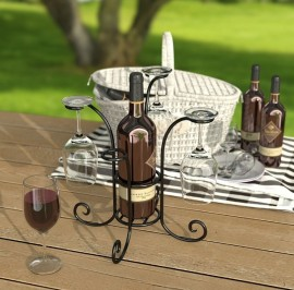 wine bottle and glasses caddy