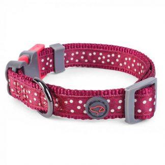 Zoon Walkabout Dog Collar - Burgundy Polka